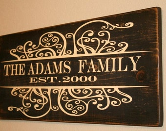 Family Name Sign, Family Est Sign, Custom Family Wood Sign, Personalized Wedding Gift, Personalized Family Name Sign, Custom Wedding Gift