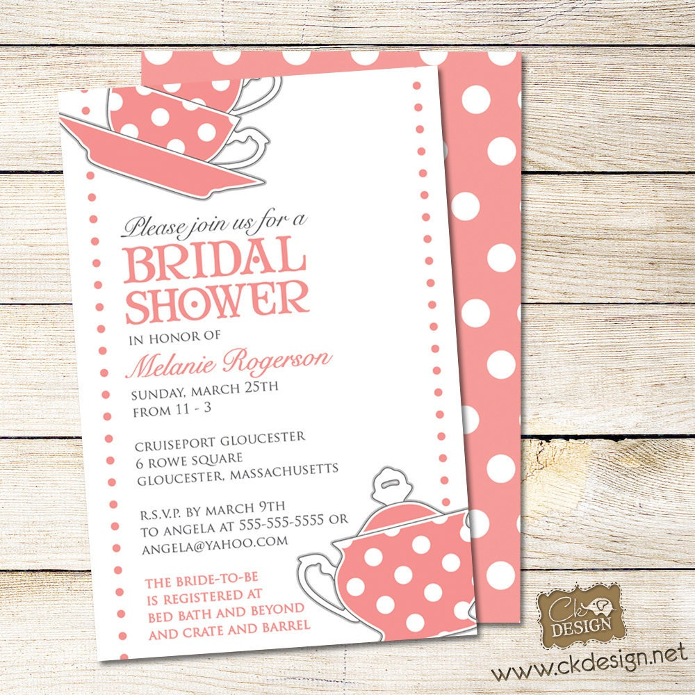 Tea Party Bridal Shower Invitations Wording (17) pics in our database ...