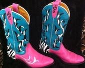 Hand painted women's cowboy boots / Zebra print & bling / Size 6