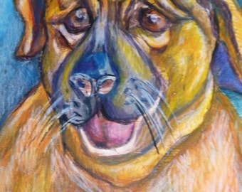 "Original Dog Painting  -- Water Color, Colored Pencil ""Yellow Dog"" -- 9"" x 12"" Small Wall Art"