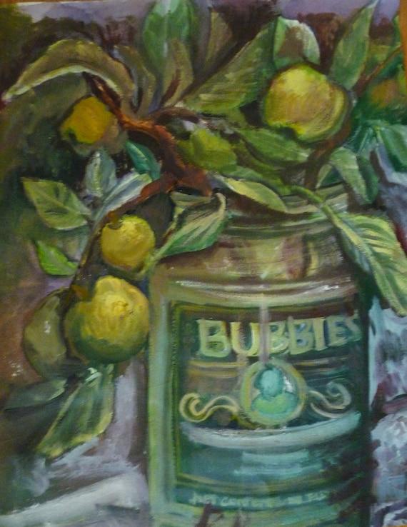 Bubbies Pickles Oil Painting, Original Oil Painting Pickles, Original Kitchen Painting, Green Pickles