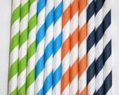 50 dinosaur stripe straws paper straws birthday party wedding cake pop sticks Bonus diy straw flags