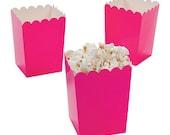 24 Mini hot pink  popcorn boxes treat favors