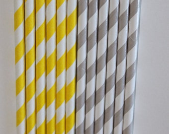 50 lt. grey yellow straws paper straws birthday party wedding cake pop sticks Bonus diy straw flag