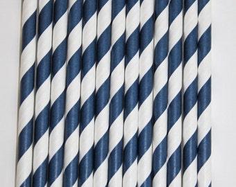 50 navy stripe straws paper straws birthday party wedding cake pop sticks bonus diy straw flags