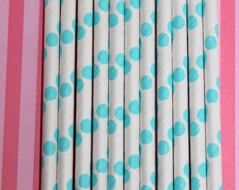 50 teal polka dot straws paper straws birthday party event cake pop sticks Bonus diy straw flags