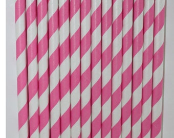25 bubblegum stripe straws paper straws birthday party wedding cake pop sticks Bonus diy straw flags