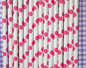 50 hot pink polka dot straws paper straws birthday party event cake pop sticks Bonus diy straw flags