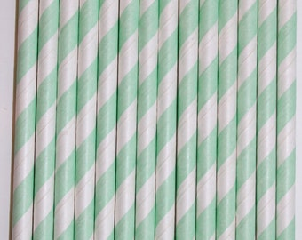 100 mint stripe straws paper straws birthday party wedding cake pop sticks Bonus diy straw flags