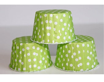 24 lime green polka dot baking cups,candy cups,nut cups,cupcake liners,treat favors