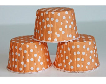 12 orange polka dot baking cups, candy cups, nut cups, cupcake liners, treat favors