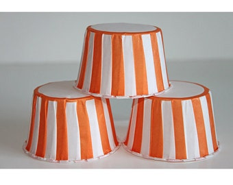 12 orange stripe baking cups, candy cups, nut cups, cupcake liners, treat favors
