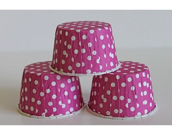 24 hot pink polka dot polka dot baking cups,candy cups,nut cups,cupcake liners,treat favors