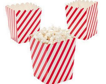 36 Mini red and white Diagonal striped popcorn boxes treat favors