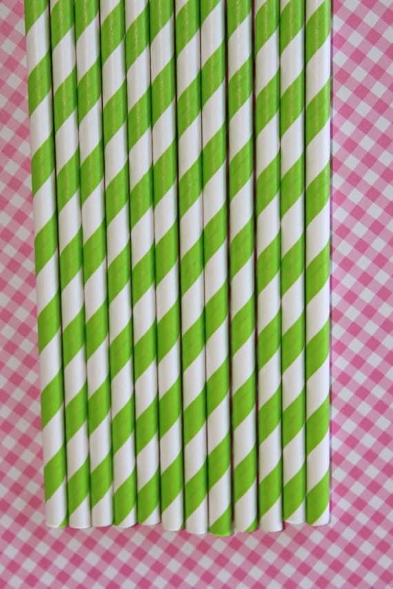 50 lime green straws pape straws birthday party wedding cake pop sticks Bonus diy straw flag