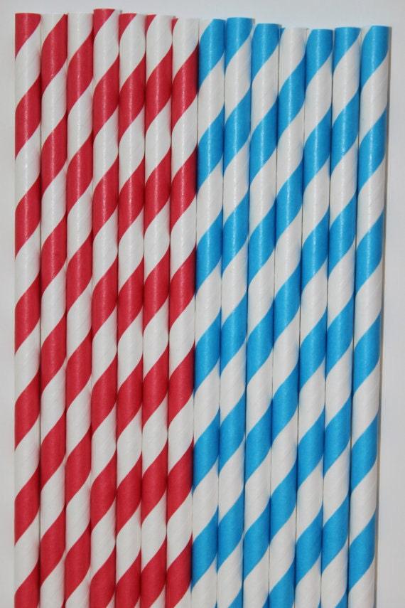 50 Dr seuss red aqua stripe Paper straws birthday party wedding cake pop sticks Bonus diy straw flags