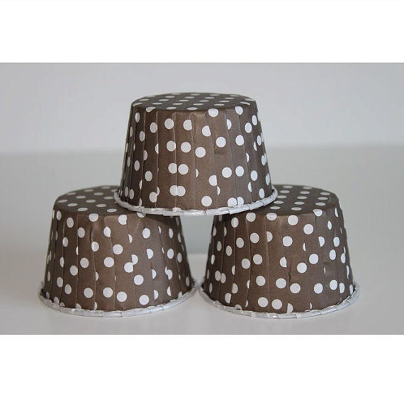12 brown polka dot baking cups,candy cups,nut cups,cupcake liners,treat favors