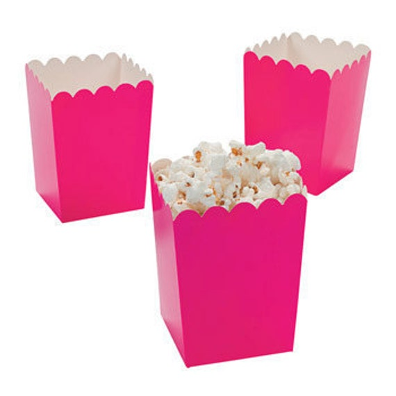 12 Mini hot pink  popcorn boxes treat favors