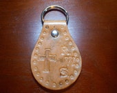 Hand Tooled Leather Cross and Intial Keychain