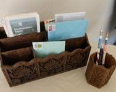 SALE  Vintage letter holder desk organizer set faux wood