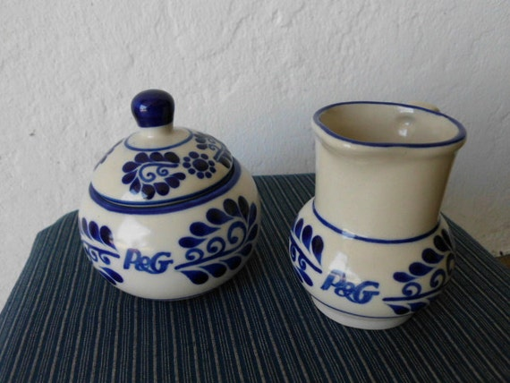 Vintage sugar bowl and creamer P and G blue pottery