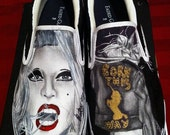 Hand-painted Lady Gaga Born This Way Slip-on shoes