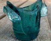 Vintage Saddle Toothpick Holder Aqua Colored Glass