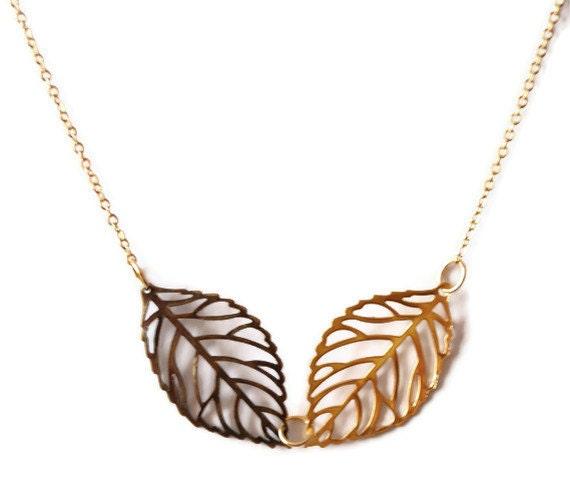 kette - leaf necklace - dainty necklace -  simple necklace - leaf necklace - necklace leaf gold