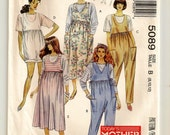 """A Maternity Side Tie Jumpsuit, Romper, Jumper and Long or Short Sleeve Pullover Top Pattern - Misses Size 8, Bust 31-1/2"""" - McCall's 5089"""