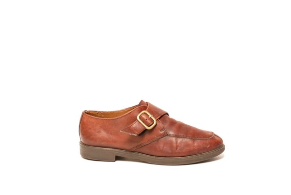 vtg 90s BROGUES brown leather BUCKLE flats size 9