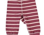 Stripy eco cotton baby pants milk white and misty red stripes handmade
