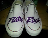 CUSTOM shoes any style any size Rhinestones and Gems Party Rock LMFAO