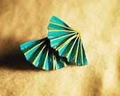 Origami fan earring studs