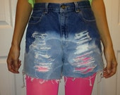 Urban Outfitters style Liz Claiborne - Size 4/6 cutoff shorts - VERY Destroyed - Ombre - High Rise