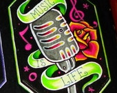 Music is life magnet hand painted ooak