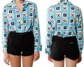 Nautical Print Shirt // 70s disco novelty blue white long sleeve anchor boat button up medium large
