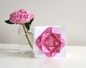 Origami Rose Birthday Card in pink and white