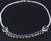 Blue Beaded Necklace -- Simple with Crystals
