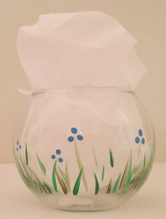 Hand Painted Berry Bush and Blue Flowers Glass Candle Holder