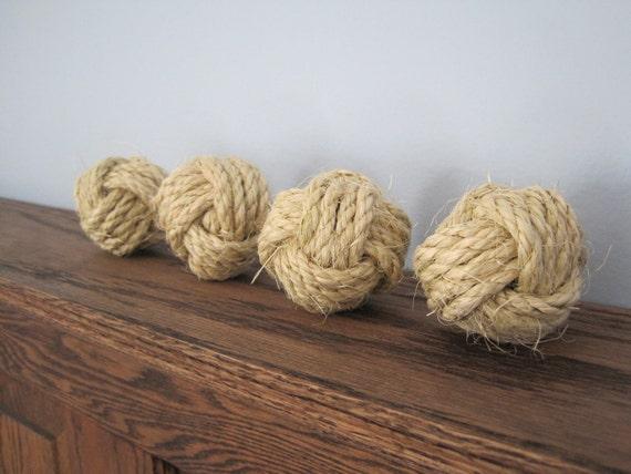 Set of 4 Monkey's Fist Nautical Knots Small