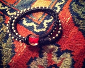 Black and Red Wrap Bracelet (Leather and Linen)