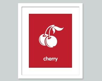 Nursery Art Print - Cherry poster - nursery art - child's room decor