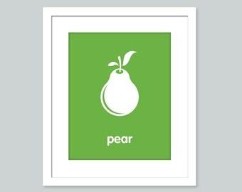 Nursery Art Print - Pear poster - nursery art - child's room decor