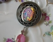 Brooch, Pink and Gray Opal Moonstone Silver, OOAK