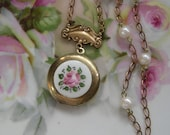 Vintage Pink Rose Enameled Gold Locket