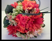 20 Piece Orange and Lime Green Wedding Bridal Bouquet Package. Gerberas, Peonies, Hydrangea, etc.