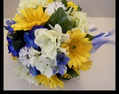 20 Piece Yellow & Periwinkle Wedding Bridal Bouquet Package. Gerbera Daisies, Hydrangea, etc.