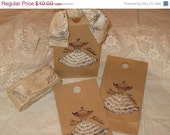 Vintage Sex in the City Dress Gift Bag with Fabulous Vintage Adorned Lace and Pearl Dress Tied up with Vintage Muslin