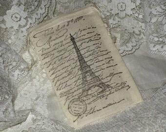 Vintage Paris Eiffel Tower French Script Muslin Gift Pouches