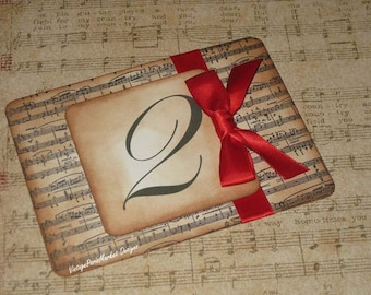 Vintage Style Paris Music Notes Luxury Table Numbers/Names Wedding Original Design